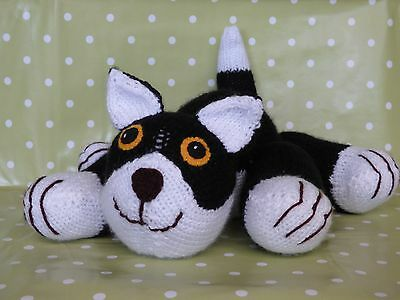 Soft & Cuddly Hand Knitted Black Cat / Kitten Soft Toy