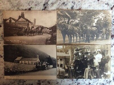 A selection of 11 vintage B&W Stagecoach related postcards