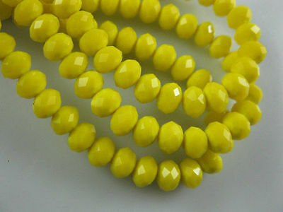 100 (±3) PCS ,4 X 6 mm Opaque Yellow Crystal Faceted Gemstone Abacus Loose Beads