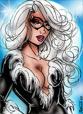 Marvel BLACK CAT Original Sketch Card Painting by Bianca Thompson