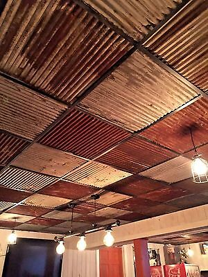 """10 pcs 23 7/8"""" x 23 7/8"""" RECLAIMED TIN ROOFING CORRUGATED PANELS/DROP CEILING*"""