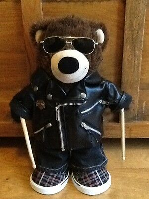 Build a Bear Leather Jacket Drumsticks Bear & Boy Outfit & Sunglasses