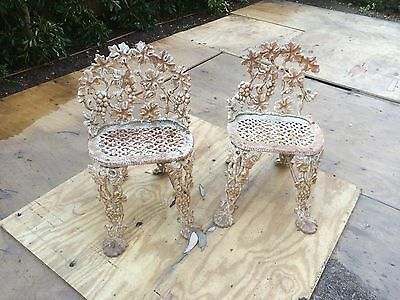 Vintage cast iron garden chair grape & vine pattern