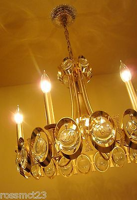 Vintage Lighting extraordinary 1970s Sciolari 24K gold crystal chandelier