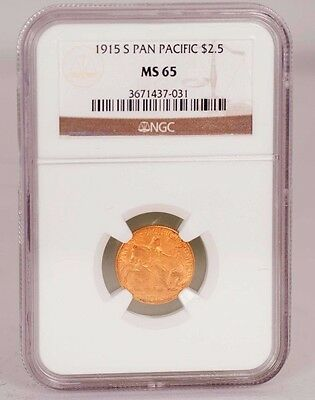 1915-S Pan Pacific Commemorative Gold $2.50 Graded MS 65 by NGC