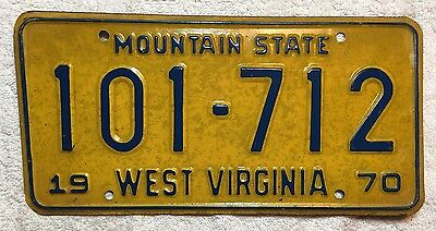 1970 West Virginia Mountain State License Plate Tag 101-712