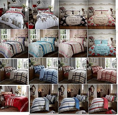 100% Brushed Cotton Flannelette Bedding Quilt Duvet Cover Set with PillowCases
