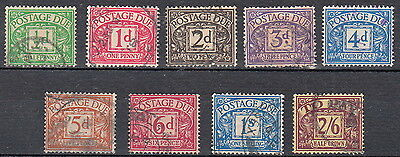 GB Postage Due Collection of 9 Values to 2/6 Unchecked