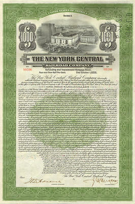 1913 New York Central Railroad   old bond certificate with coupons