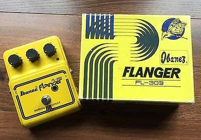 Vintage 1970's Ibanez FL-303 Flanger Pedal Yellow Made In Japan by Maxon w/box!!