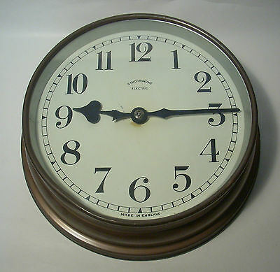 """Vintage Synchronome Copper Cased 7½"""" Factory Wall Clock Slave Movement"""