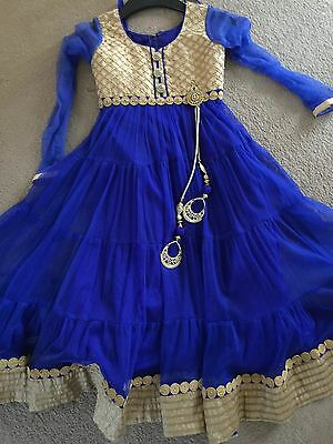 Childrens Anarkali Indian Asian Bollywood Dress Blue Designer Piece Soft Net