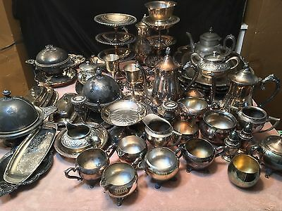 Large lot 75+ Pc. Antique Silver Silver Plate Trays Tea Pot Cream Sugar Salt ETC