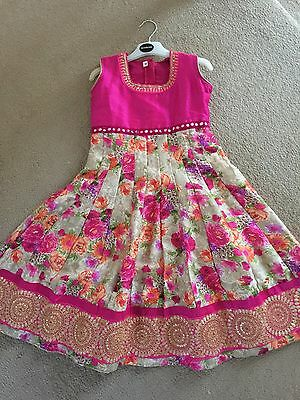 Childrens Anarkali Indian Asian Bollywood Style Dress Pink Floral