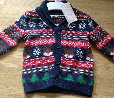 Baby Christmas Cardigan Jumper Age 3-6 Months Brand New With Tags