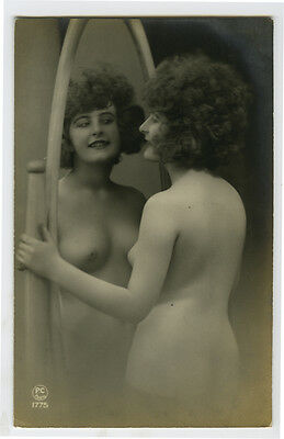 1920s Sexy French MIRROR FLAPPER Pretty Lady Nude photo postcard