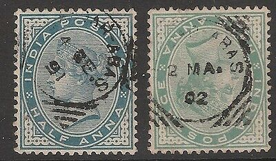 India used abroad in 1891 and 1902 Bandar Abbas QV 1/2 a both shades