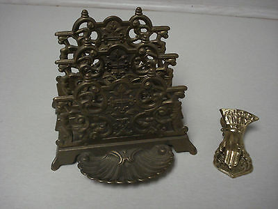 Vintage Italy Brass Letter Note Coin Trinket Stand Hand Clip Desk Dresser Table