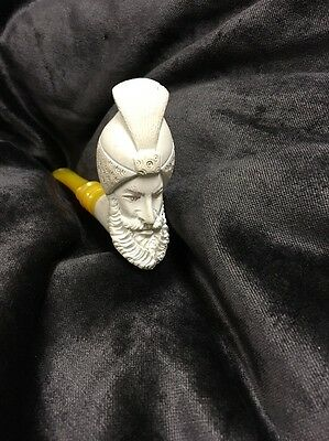 Vintage Antique Carved Sultan Face Clay Pipe With Bakelite Stem