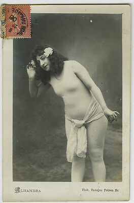 c 1906 Sexy French Body STOKING NUDE Alhambra Showgirl photo postcard