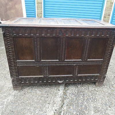 antique Gothic stunning huge oak coffer / mule chest, unique
