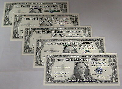 1957 U.s. $1 Silver Certificates (Fr# 1619)  5 Consecutive Serial Numbers