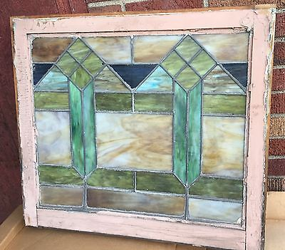ANTIQUE Geometric Pattern STAINED LEADED GLASS WINDOW