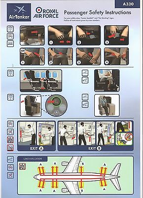 Safety card consigne securité Royal Air Force Air Tanker Airbus 330