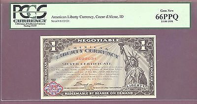 1998 $1 NORFED American Liberty Currency Coeur d'Alene IDAHO PCGS 66 PPQ GEM NEW