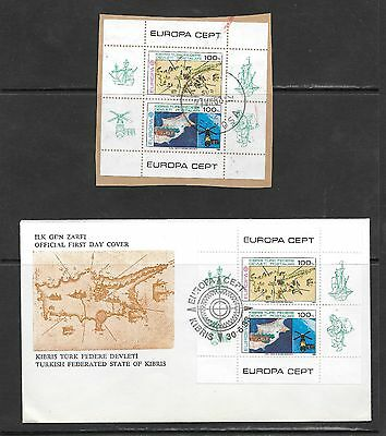 Cyprus Turkish 1983 Europa M/S Used on Piece & FDC