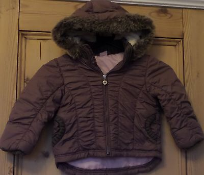 Girls Age 2 3 Years Hooded Jacket Coat Brown Fur Trim Pink Marks Spencer Padded