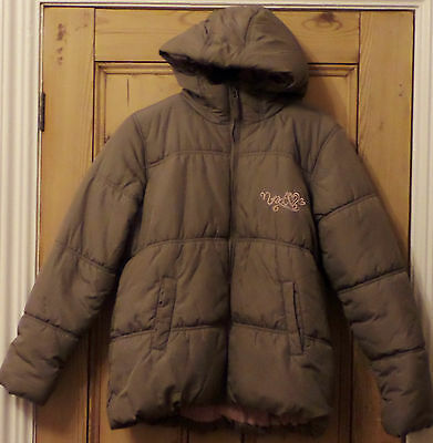 Girls Next Coat Jacket Age 10 11 12 Hooded Brown / Mink / Pink Hooded Padded