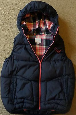 Girls Next Bodywarmer Gilet Age 10 11 12 Years Hooded Padded Navy Blue Pink