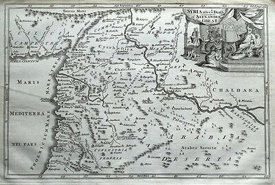 ISRAEL, SYRIA, IRAQ, HOLY LAND, ALEXANDER the GREAT original antique map c1760