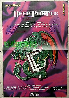 Deep Purple Signed In Person 4 Autogramme Autograph Gillan Glover Lord (†) Paice