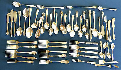 Lot of 52 Silverplate  Flatware Forks, Spoons, Spreaders