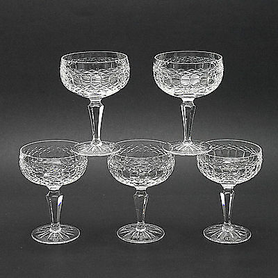 "Five Stunning Galway Irish Crystal Castlerosse Champagne Saucers/Glasses-5"" High"
