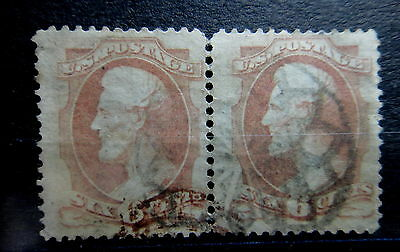 US 1879 LINCOLN 6c stamps PAIR - Used - NICE FANCY CANCEL - VF - r26e3304