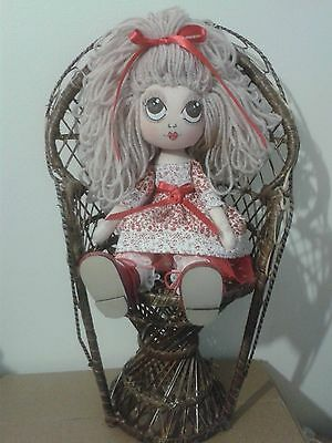 'Charlotte' OOAK Collectable Handcrafted Cloth Art Rag Doll by Mary Jennie