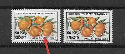 Cyprus Errors 1979 Fruits Red Colours have Shifted  MNH
