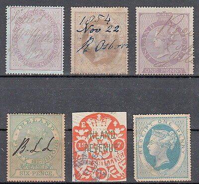 GB QV Collection of 6 Fiscals, Inland Revenue Receipt Ireland Sessions, Draft 1d