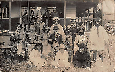 EARLY 1900s RP POSTCARD ~ GROUP in FANCY DRESS ~ BLACK FACE, CROSS DRESSED, DOG
