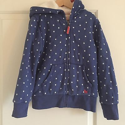 Beautiful Girls Mini Boden Shaggy Lined Zip Through Hoody  Stars Age 7-8