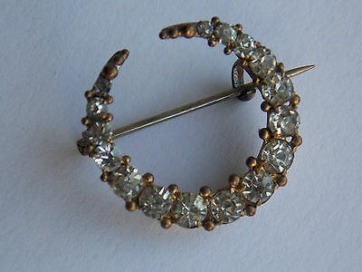 Fabulous Victorian crescent moon brooch with sparkly claw set clear paste