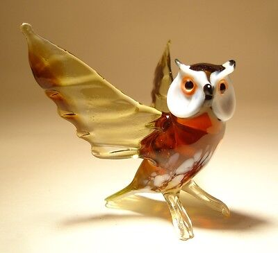 Blown Glass Figurine Art Bird Brown Horned OWL with Open Wings
