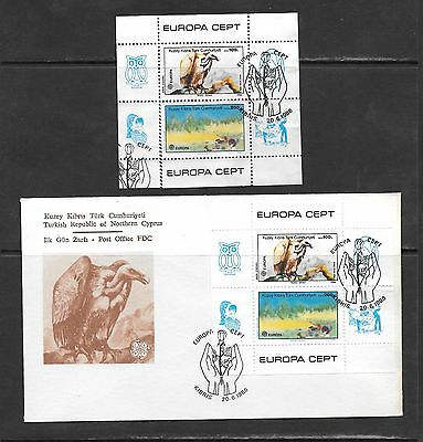 Cyprus Turkish 1986 Europa M/S Used and First Day Cover