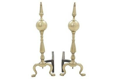 Antique Brass Fireplace Andirons