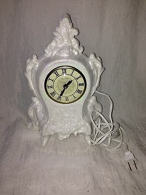 Vintage White Pearl Opalescence Porcelain Movement Clock By Lanshire U.S.A