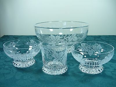 Stuart Crystal Serving Bowl With Extras Grape Vine Design Dessert Bowls & Glass