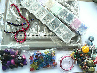 Jewellery Making Items - Bead Board, Beads, Containers, Findings - 750g total